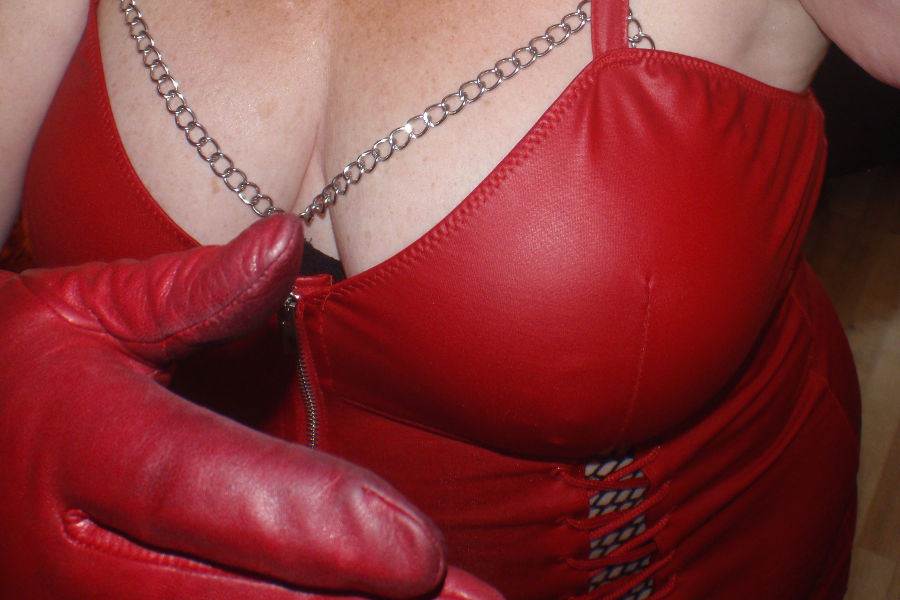 Ms Kay - Red leather dominatrix